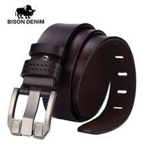 BISON DENIM men luxury belts top Cowboy Genuine Leather belt mens leather belts with buckle belts black brown coffee W71018