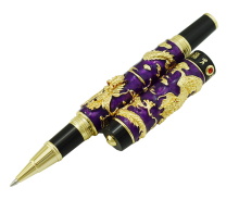 Jinhao Purple Cloisonne Double Dragon Rollerball Pen with Ink Refill Advanced Craft Writing Gift for Business, Graduate