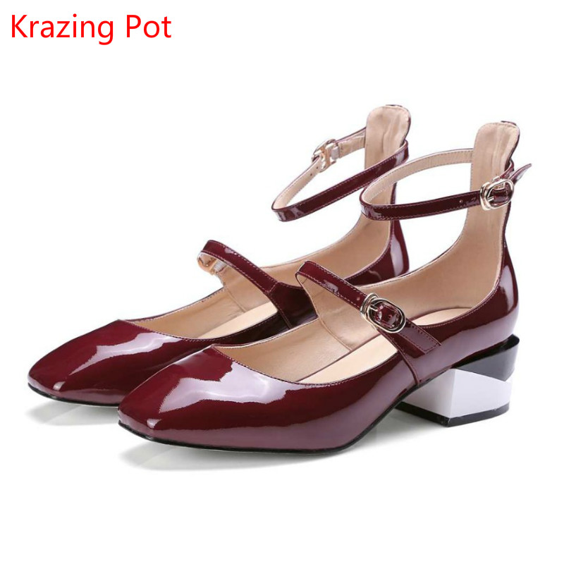 Подробнее о Krazing Pot New Fashion Brand Shoes Patent Leather Square Toe Preppy Style Low Heel Sweet Ankle Strap Women Pumps Mary Jane Shoe krazing pot new fashion brand gold shoes patent leather square toe preppy style med heels buckle women pumps mary jane shoes 90