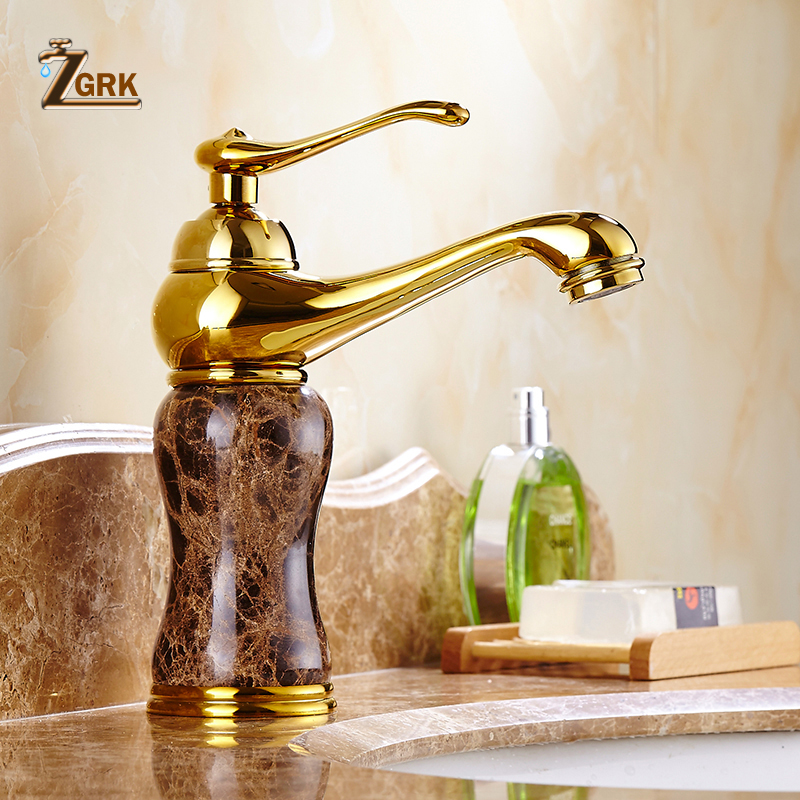 Luxury marble golden faucet coffee color marble stone sink faucet with hot and cold water taps