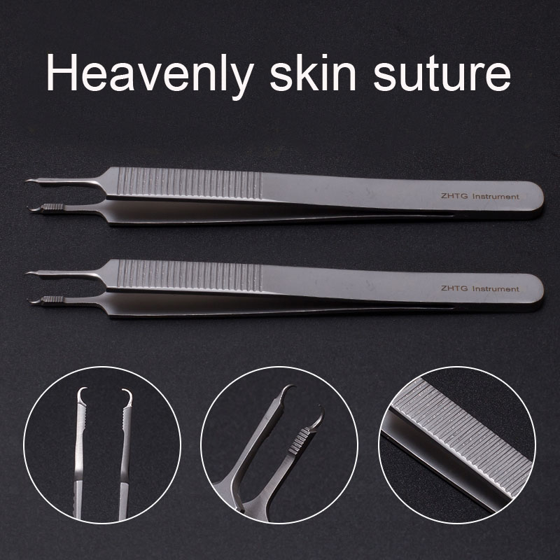 Fine Skin Suture Tweezers 12.5cm with Hook and Sew forceps Beauty & Health Makeup Tools/Accessories Double Eyelids & Tools
