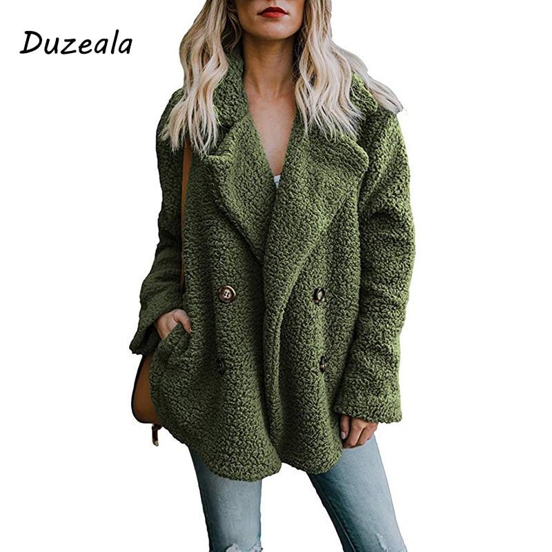 Duzeala Women's Jackets Winter Coat Women Cardigans Ladies Warm Jumper Fleece Faux Fur Coat Hoodie Outwear Blouson Femme S-3XL