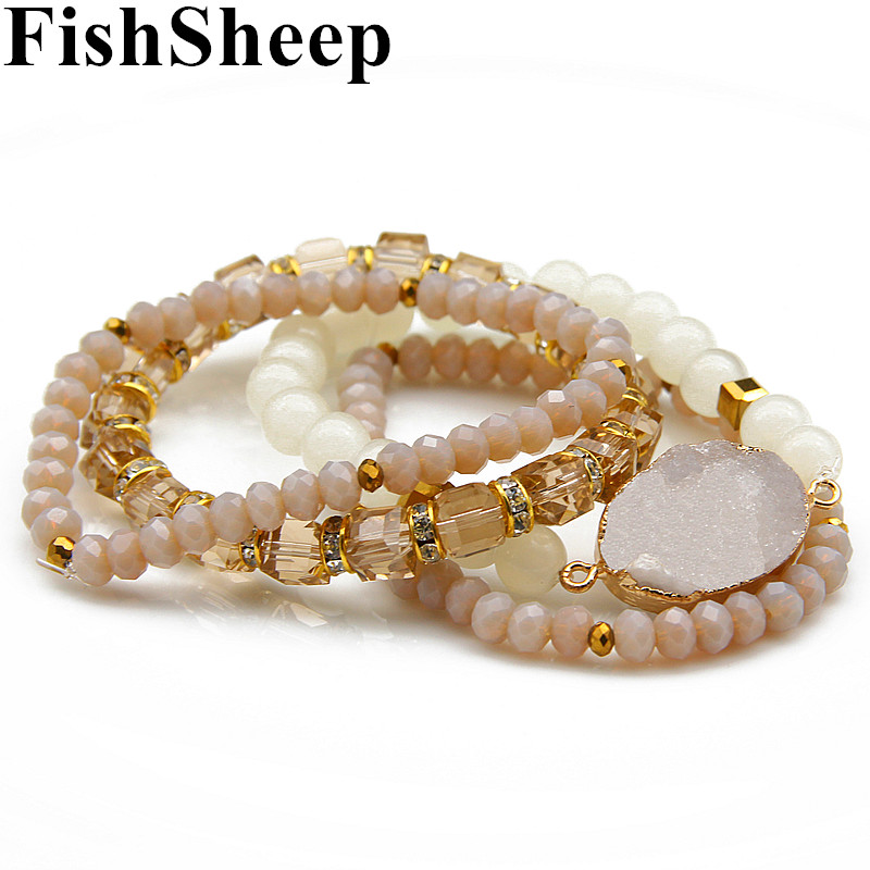 FishSheep Bohemian 4pcs/Set Multilayer Natural Stone Bracelet Set Stretch Crystal Beads Bracelets & Bangles Women Jewelry joursneige natural tourmaline bracelets crystal necklace for women women simple and fresh crystal bracelet multilayer jewelry