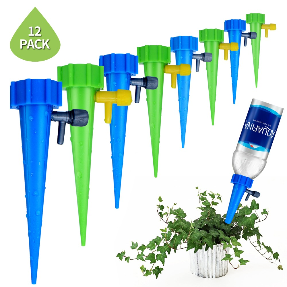 12Pcs/Set Plant Self Watering Adjustable Stakes System Vacation Plant Waterer Self Automatic Watering Spikes Irrigation System watering plants while on vacation