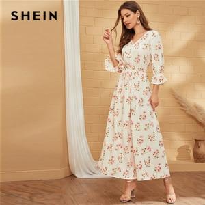 Image 2 - SHEIN Wit V hals Bloemenprint EEN Lijn Boho Lange Jurk Vrouwen Vakantie Herfst Flounce Mouw Ruches Flared Elegante Maxi jurken