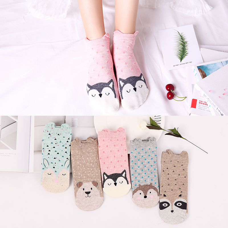 5Pairs Spring New Arrivl Women Cotton   Socks   Pink Blue Raindrops Owl Cute Ankle   Socks   Short Casual Animal Ear Gril   Socks   35-40