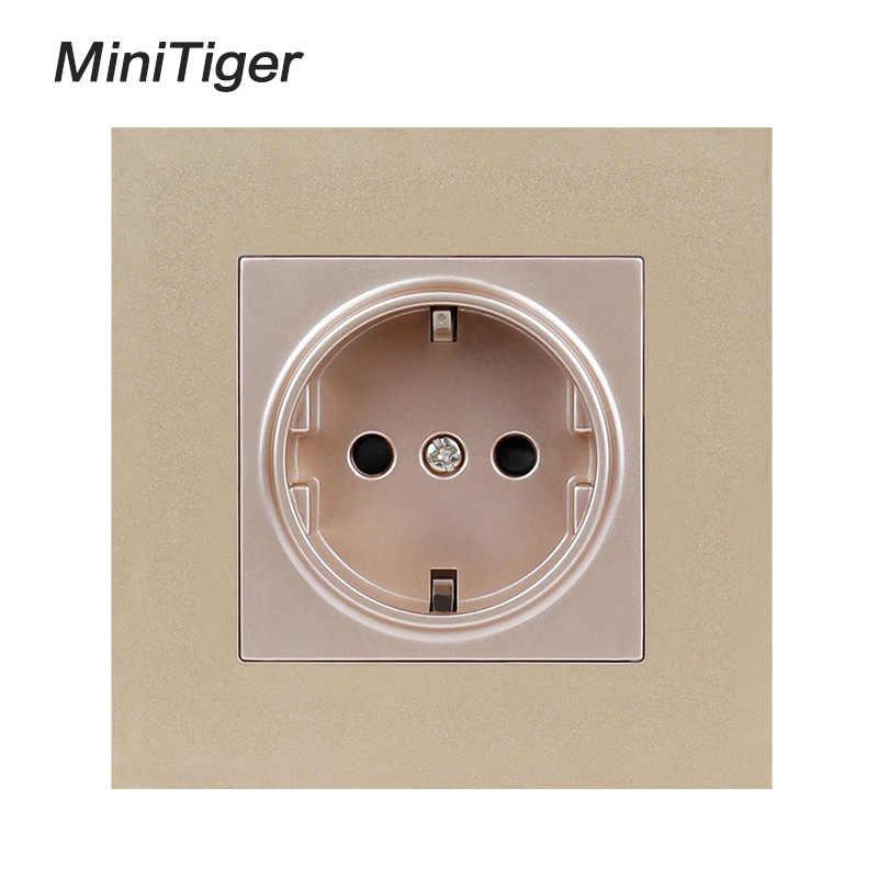 Minitiger Witte Muur Plastic Panel 1 Gang Stopcontact Plug Geaard, 16A Eu Standaard Elektrische Dubbele Outlet 86 Mm * 86 Mm