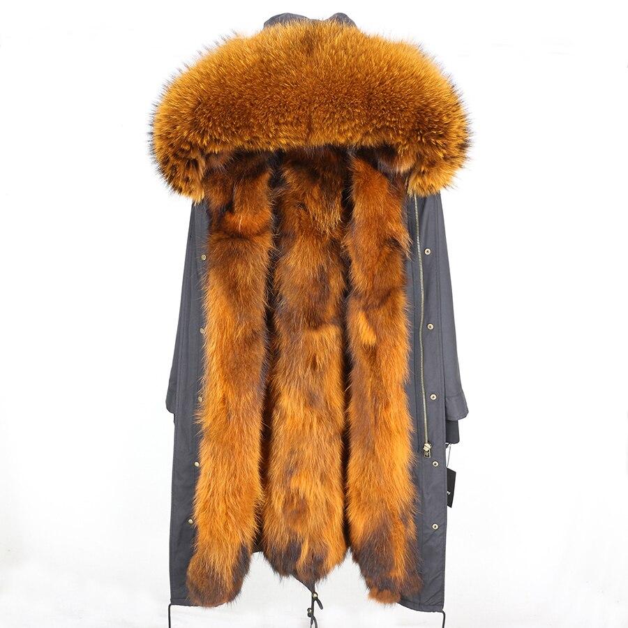 2019 Real Fur Coat Winter Jacket Women Long Parka Waterproof Big Natural Raccoon Fur Collar Hood Thick Warm Real Fox Fur Liner 109