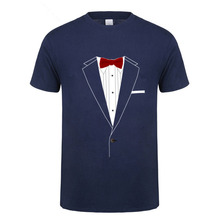 e463e2cdd90 Business Gentleman T-shirt Men Adult Tuxedo Red Bowtie Graphic Printed T  Shirts Natural Cotton
