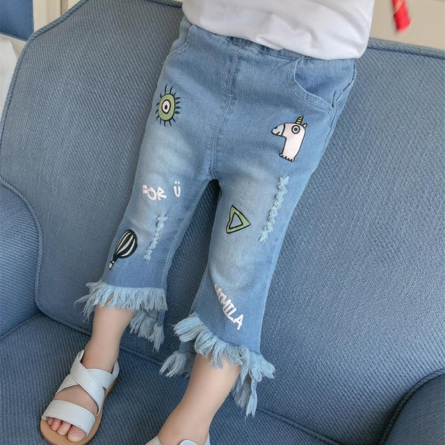2018 Fashion Summer Girls Capri Jeans Kids Girl Cartoon Ripped Kot
