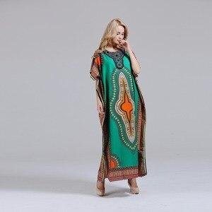 Image 2 - Dashikiage فستان داشيكي جديد أنيق للنساء 100% قطن أفريقي مطبوع ماكسي فيستدوس رداء أفريقي نسائي داشيكي
