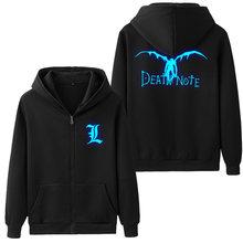 Drop Shipping Spring Antumn DEATH NOTE Glowing Printed Fashion Men s  Hoodies mens jacket Fleece Hooded Sweatshirts 45c31dfc5