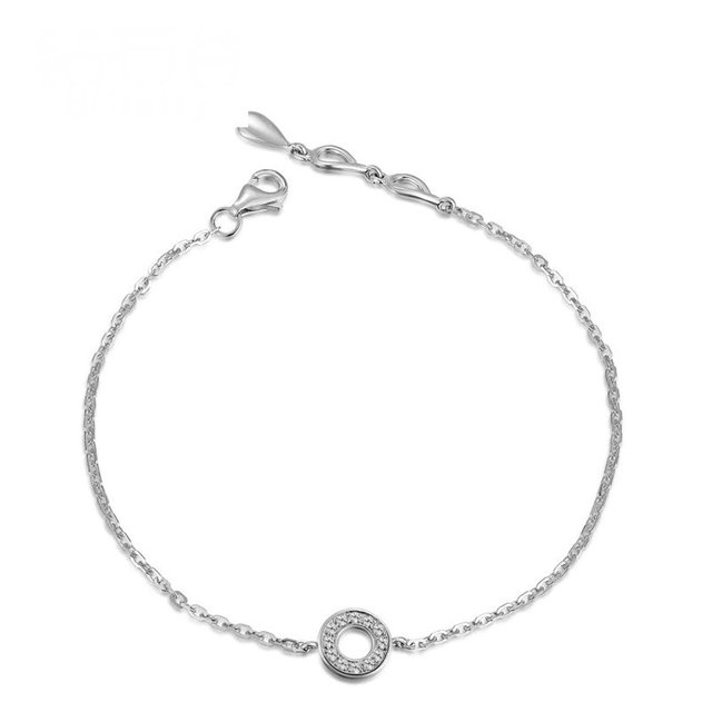 0.10ct Natural Diamond Women Bracelet Circle Charm Solid 18K White Gold 18cm Wedding Engagement Party Jewelry