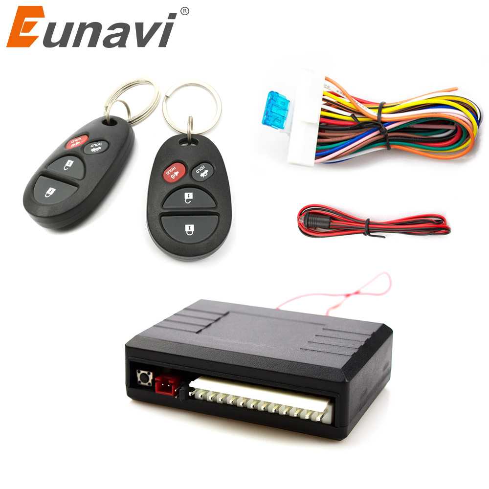 Eunavi Universal Car Remote Central Kit Door Lock Locking Vehicle Keyless Entry System With Remote Controllers Car Alarm System