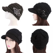 f7e76e4b950 Berets Caps For Women Cable Knitted Visor Hat With Flower Winter Female  Beret Female Hat(