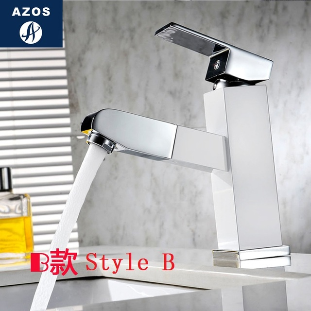 Bathroom Sink Faucets Pull Out Hose Spray Single Handle Nickle White Porcelain Solid Br Deck Mounted