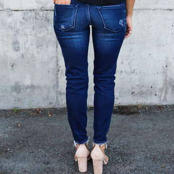 Women Denim Skinny Pants Ripped Destroyed Pleated Stretch Jeans Slim Pencil Trousers 4