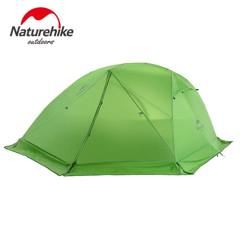 Naturehike Tente 2 Personne 20D Silicone Tissu Double Couches Imperméable de Camping Tente Avec Empreinte de Neige Jupe Anti Neige 4 Saison