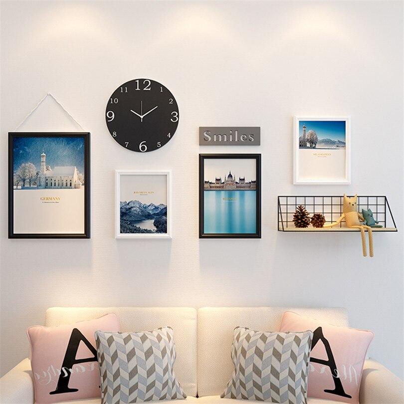 Черный белый деревянный набор фоторамок Винтаж 4 шт рамы для картин + черные часы + полка настенная художественная рамка для картин набор дом
