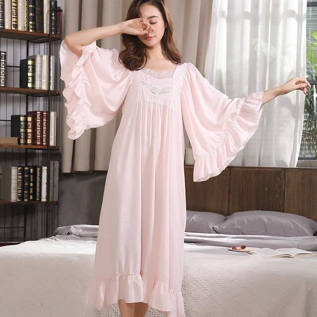 50fb8e1120cafb R$ 95.96 25% de desconto Babados Manga Longa Das Mulheres Dormir Vestido  Camisola Maternidade grávida CC431 Nightdress Nightgowns Casa Vestido ...