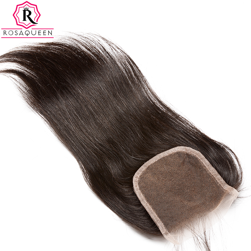Dolago Lace Closure Med Baby Hair Straight Remy Hair Natural Black Färg 100% Mänskligt Hårfritt Part