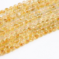 Round Jewelry Making New Arrival Natural Crystal Stone Beads Yellow Smooth 6mm 8mm 10mm Wholesale Diy