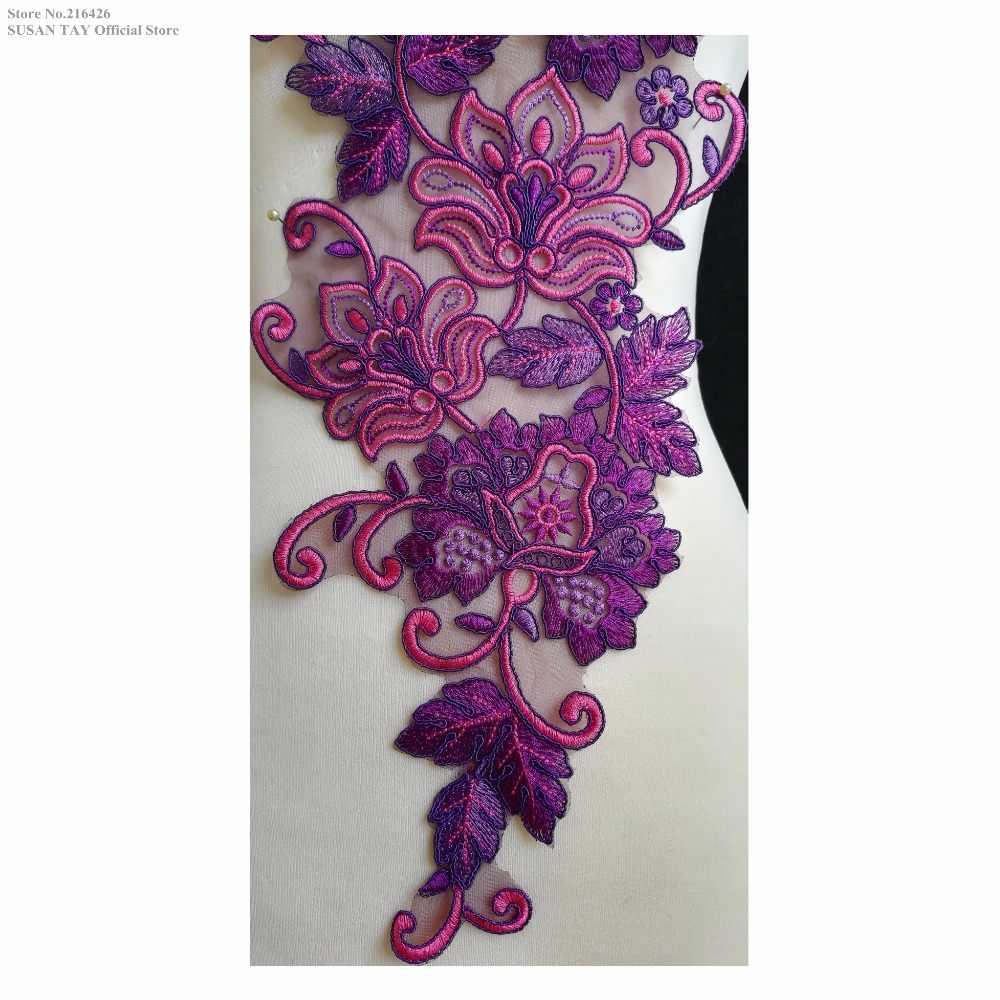 Новая мода фиолетовый/розовый цветок Аппликации из вышитого кружева воротник декольте патчи танцы костюм декоративный шитье DIY ремесла BNC136K