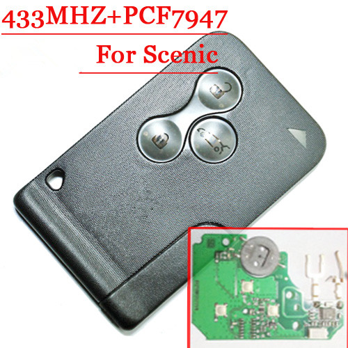Free shipping (10pcs/lot)Excellent Quality 3 button smart remote key with pcf7947 chip replace remote for R-enault Scenic free shipping 10pcs aat11732 lcd chip