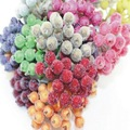 Free Shipping 100pcs(200heads)/200pcs 12mm Glass Pomegranate Multicolor Double Heads Stem Glass Fruit Stamen Wedding decoration