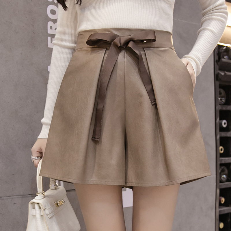 Women PU Leather   Shorts   Hot Lace Up   Shorts   Feminino Saia   Shorts   Mujer High Quality Mini Sexy High Waist Elastic Femme MZ1959g