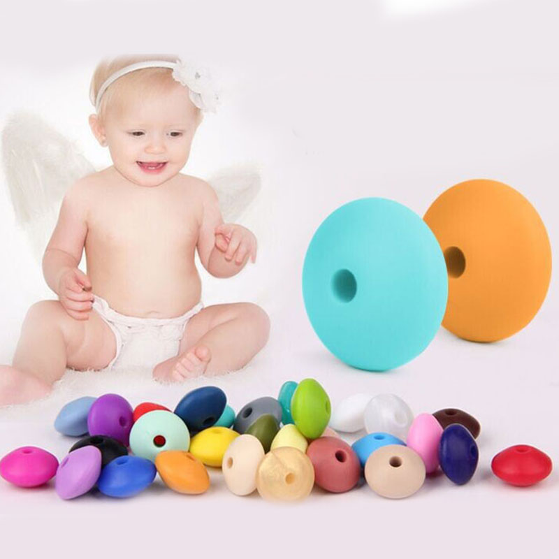 100pcs Teething Silicone Beads Lentil Abacus 12*7mm Bpa Free Tooth Diy Teether