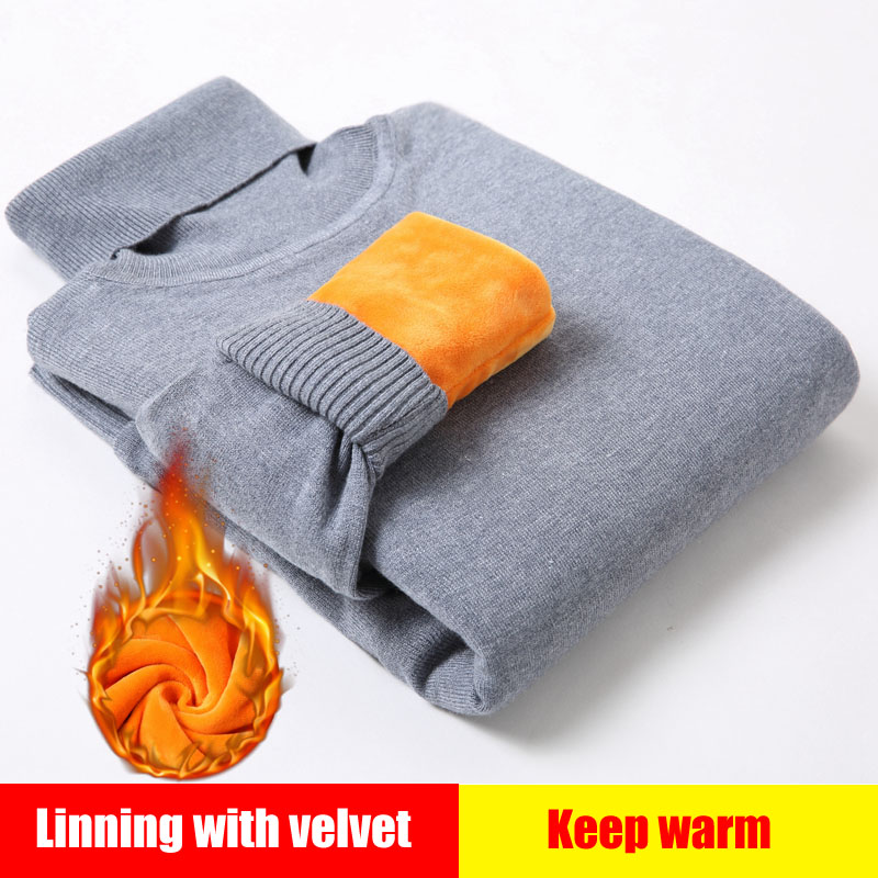 New Winter Men'S Sweater Men'S Turtleneck Solid Color Casual Sweater Men's Slim Knitted Plus Velvet Thick Pullovers