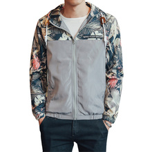 2017 Spring Autumn Casual Hooded Windbreaker Jacket Men Patchwork Floral Printed Thin Jacket Male Zipper Slim Outwear Coat 4XL