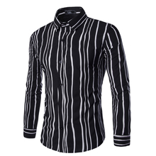 Spring irregular stripe shirt male casual Slim Fit Business Formal long sleeve shirt men Designer blouse tops plus size Z20