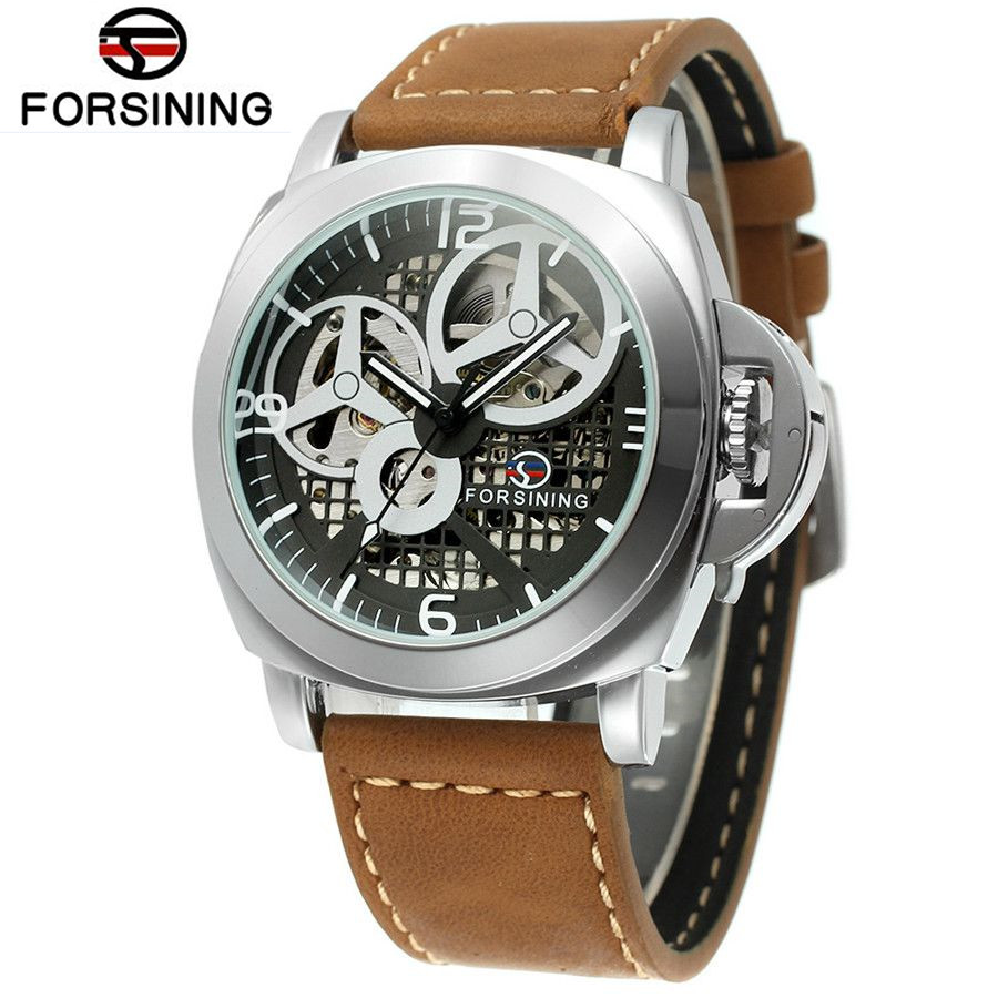 цены FORSINING 2017 New Fashion Watch Men's Skeleton Auto Mechanical Watches Wristwatch  Gift Free Ship
