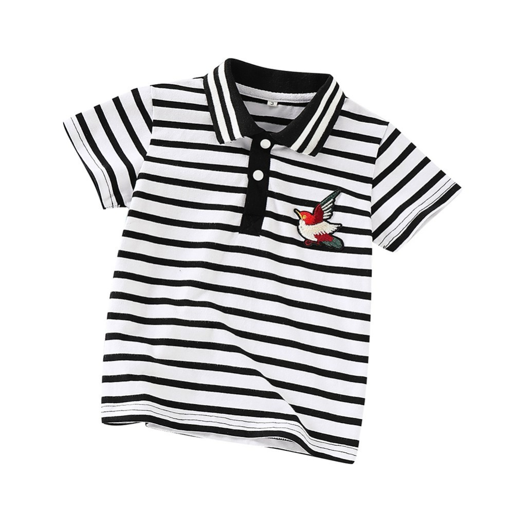 T-Shirt Tops Short-Sleeve Print Baby-Boy Stripe Cotton Casual Summer Blouse