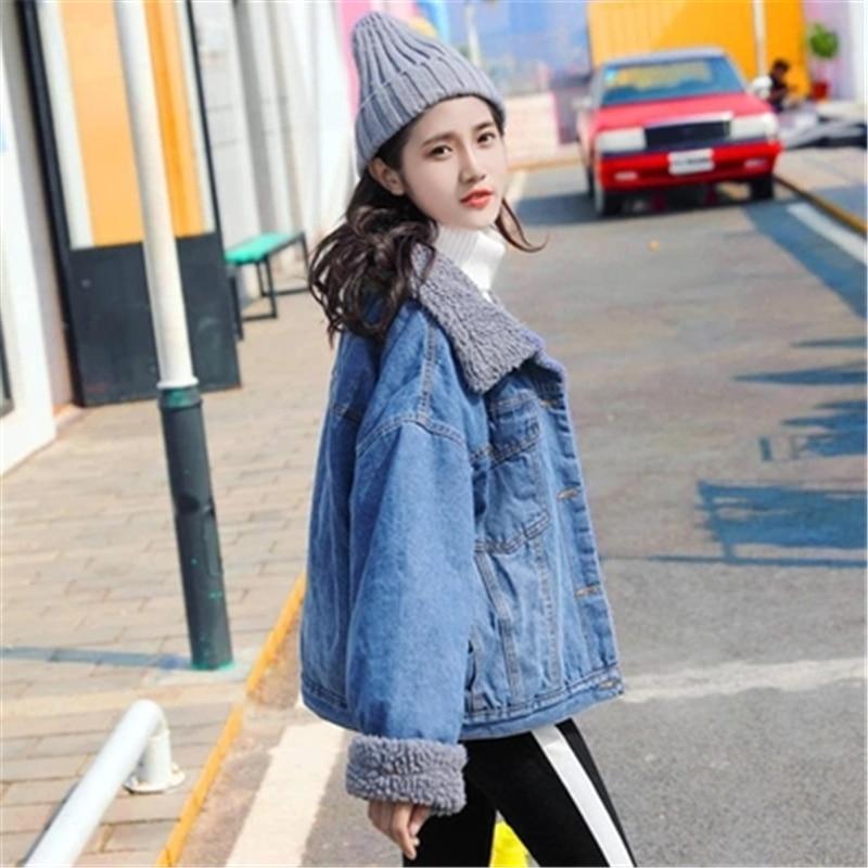 Cheveux De Qualité Veste Neuf Courte D'hiver Haute Longues Manteau Agneau H186 Denim Mode Photo Femme 2018 Coton Color Lâche Revers Manches Vêtements dxpnXqfv