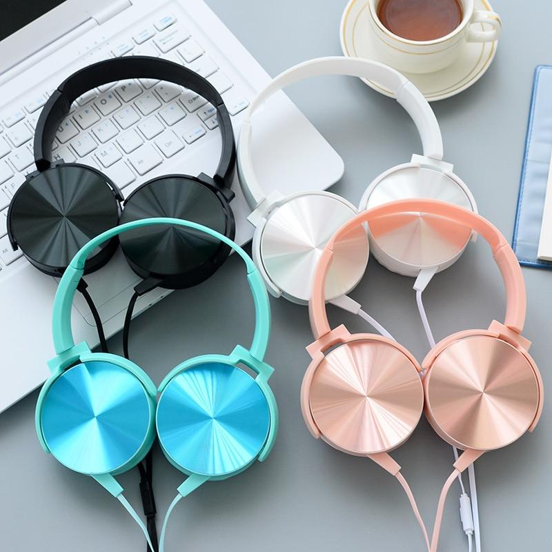 bilder für Luxus Schöne Stirnband Stereo Rose Gold Kopfhörer mit Mikrofon Tragbare Wired Headset für Handy iPhone PC Geschenk