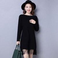 XanLEER hohe qualität solide strick pullover komfortable stoff tasten kragen dekoration spitze rand oansatz schwarz sexy girl kleid