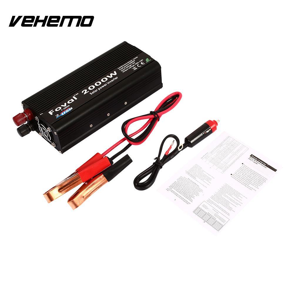 Vehemo Dual USB 2000 W Вт DC12 к AC220V Портативный автомобиля Мощность инвертор Зарядное устройство адаптер конвертер DC12 к AC220 Модифицированная синусоид...