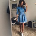 2017 Fashion Women Summer Dress	Sexy Denim Stand Collar Fashion Slim Fit Casual Chic Sexy A-Line Mini Sundress Dress Vestido 141
