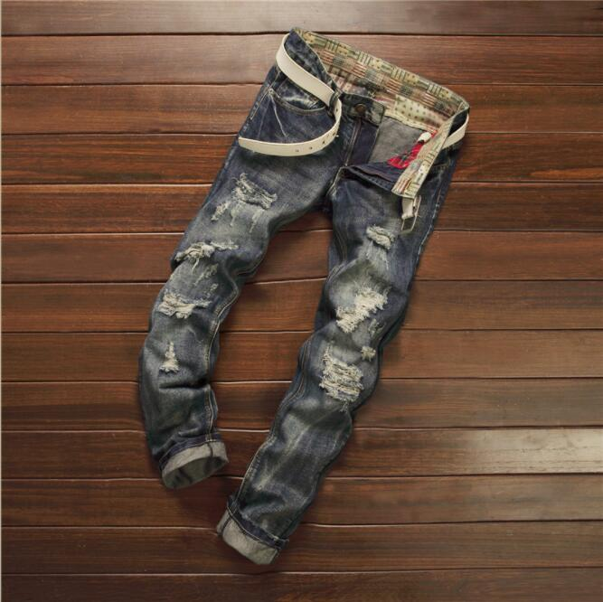 Men   Jeans   Stretch Destroyed Ripped Design Fashion Ankle Zipper Skinny   Jeans   For Men