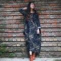 Autumn Dress Long Sleeve Casual Women Dress Female Linen Cotton Full Dress Loose Waist O Neck Floral Print Maxi Dress Vestido