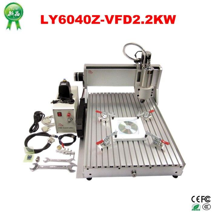 2.2KW 3 axes CNC routeur 6040 Z-VFD CNC fraiseuse avec vis à billes pour bois pierre aluminium Bronze PCB, russie taxe gratuite