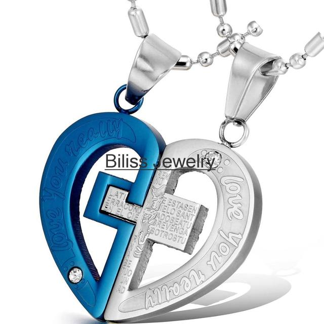 Necklaces pendants couple his and her necklace stainless steel necklaces pendants couple his and her necklace stainless steel cross heart pendant engraved love aloadofball Image collections