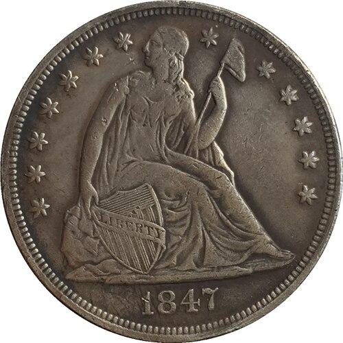 ⊹1847 Сидящая свобода доллар Монеты Скопируйте ...