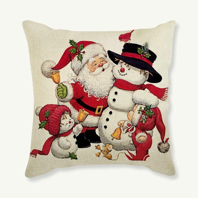 1592653a82 Santa Claus Snowman Christmas Pillows For Indoor Decoration Father Santa  Cute Bear Snowman Print Sofa Cushion Cover Car Pillow