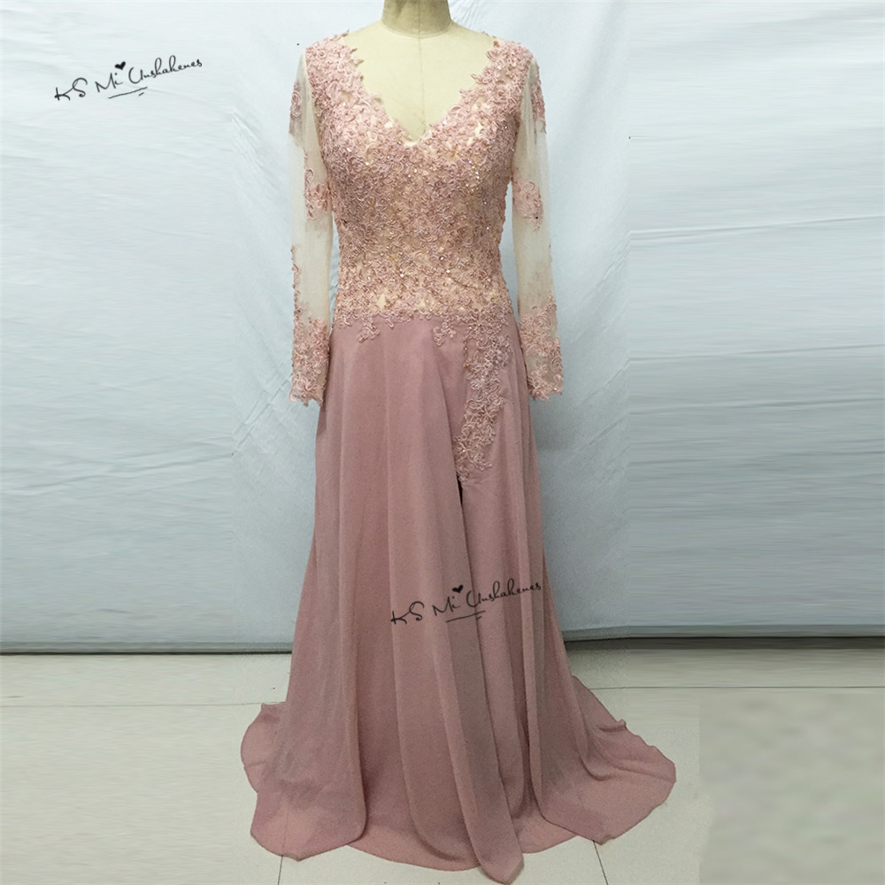 Old Pink Long Sleeve Lace Prom Dresses Beads Lace Split Side Chiffon ...
