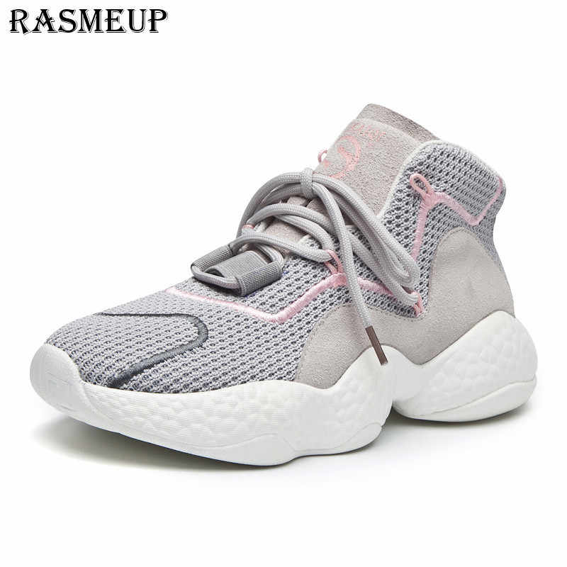 942836b5e1e2 RASMEUP Mesh Thick Sole Women s Chunky Sneakers Fashion Lace Up Women  Platform Daddy Shoes Breathable Woman