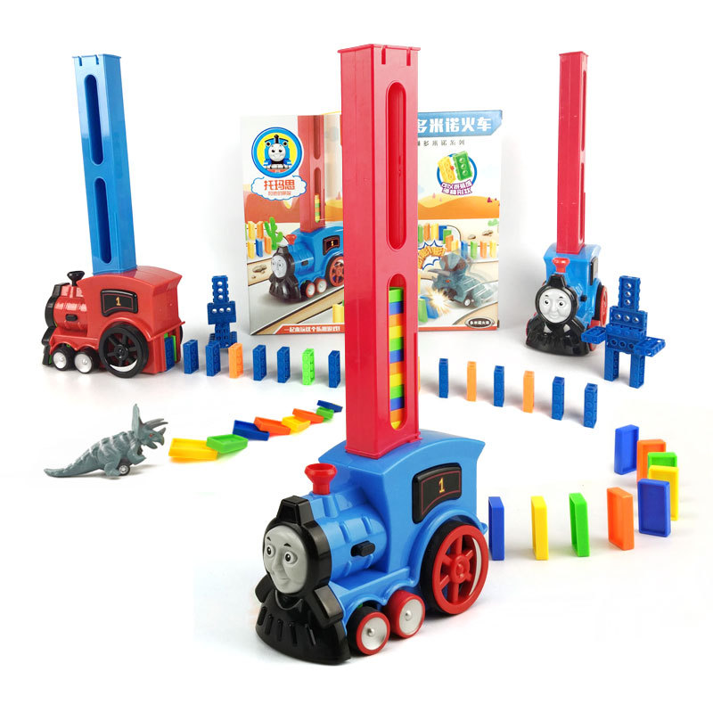 128 pcs Arc En Ciel De Couleur Domino Blocs de Construction Train Dinosaure Pull Voiture Jouet Enfant Jouets Éducatifs Enfants Cadeau